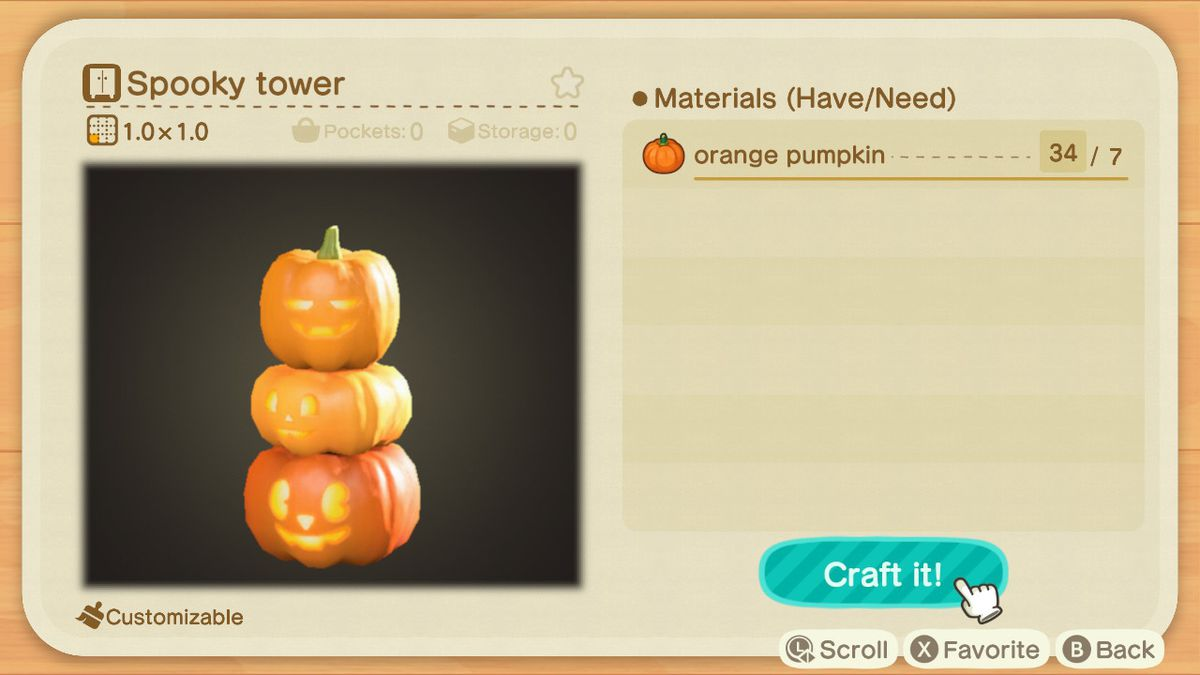 An Animal Crossing recipe for a Spooky Tower