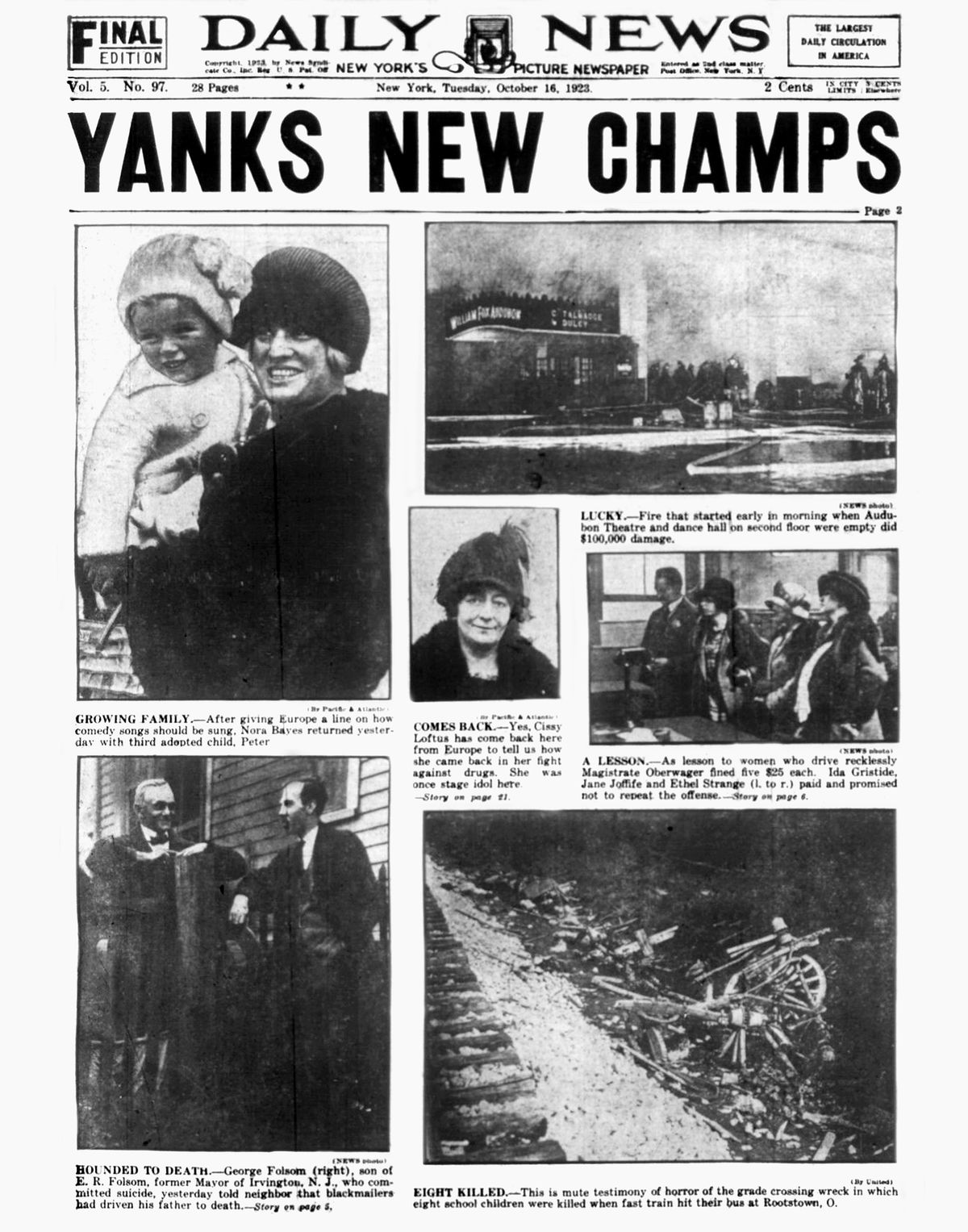 Daily News front page October 16, 1923, Headlines: YANKS