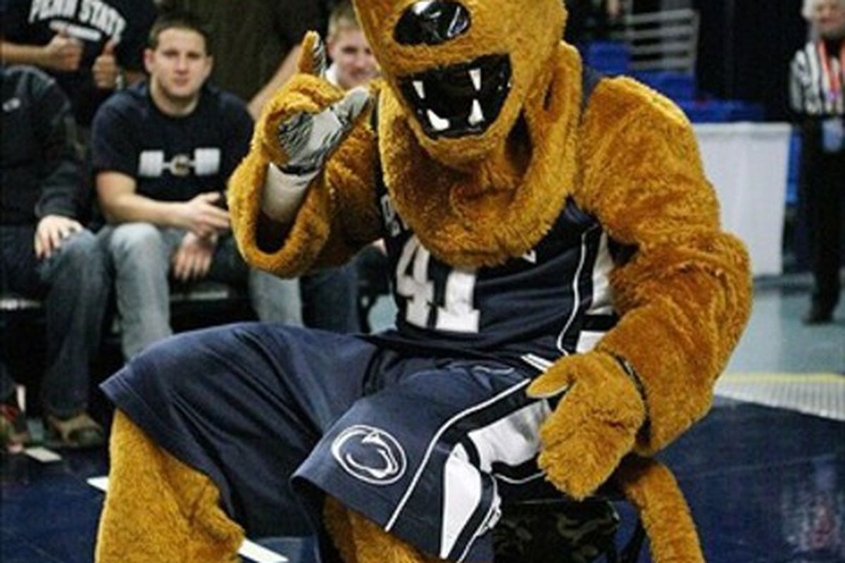 February 25, 2012; University Park, PA, USA;  Penn State Nittany Lions mascot performs during the game against the Northwestern Wildcats at Bryce Jordan Center. Northwestern defeated Penn State 67-66.  Mandatory Credit: Rob Christy-US PRESSWIRE