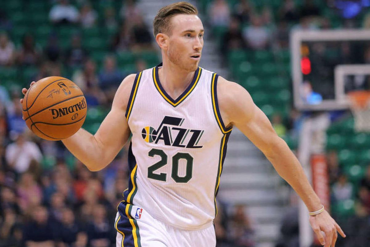 Utah Jazz guard Gordon Hayward (20) looks to pass the ball as the Utah Jazz and the Oklahoma City Thunder play Tuesday, Oct. 20, 2015, at EnergySolutions Arena in Salt Lake City.