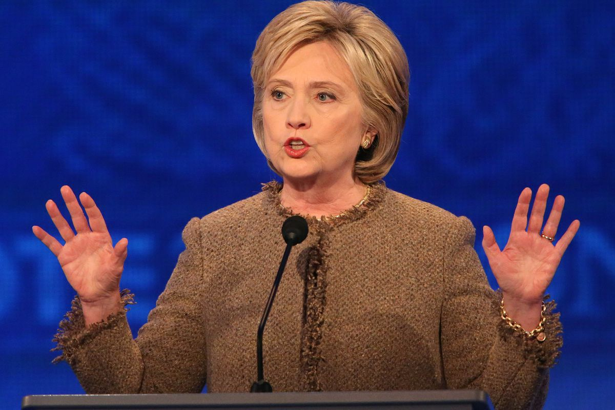 Democratic president candidate Hillary Clinton speaks at the debate at Saint Anselm College December 19, 2015, in Manchester, New Hampshire.