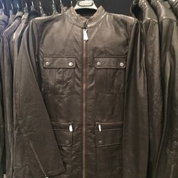Collection leather jacket, size 46, $399 (from $2,398)