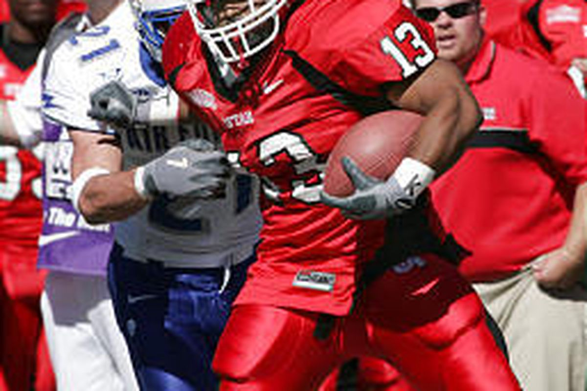 Utah's running back Quinton Ganther has worked hard, harder than he can ever remember, and his results show it's paying off. Above, Ganther runs against Air Force.