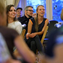 Lindsey Broud, Brian Peterson and Lydia Murdock listen to Thomas McConkie of Lower Lights after taking part in a mediation and discussion in Salt Lake City on Wednesday, June 14, 2017.