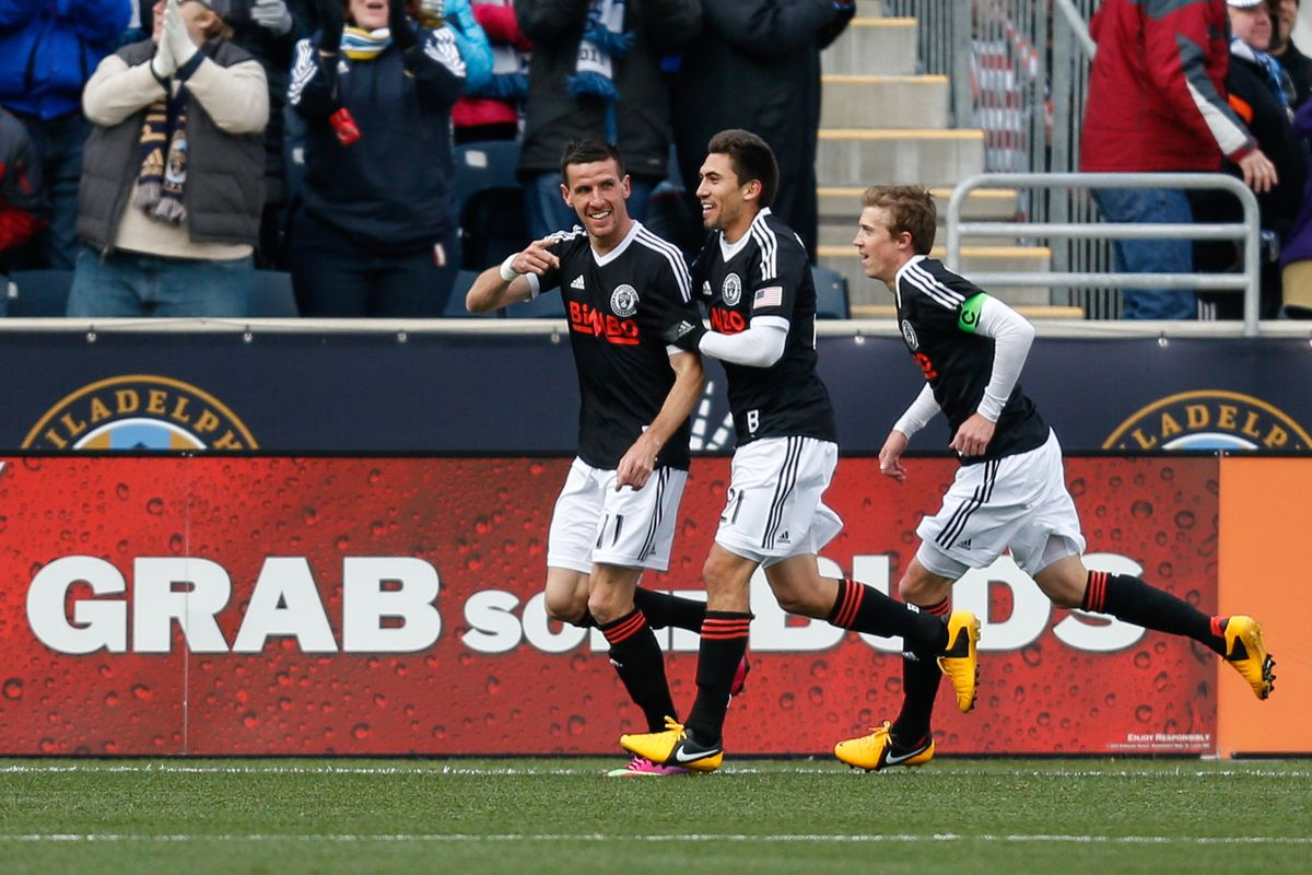 Sebastian Le Toux reacts with teammates after scoring the opening goal against Sporting Kansas City. The Union eventually lost 3-1.