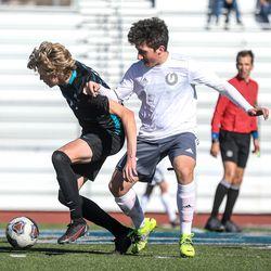 Olympus and Farmington high school boys soccer face off at Farmington High School on Thursday, March 18, 2021.