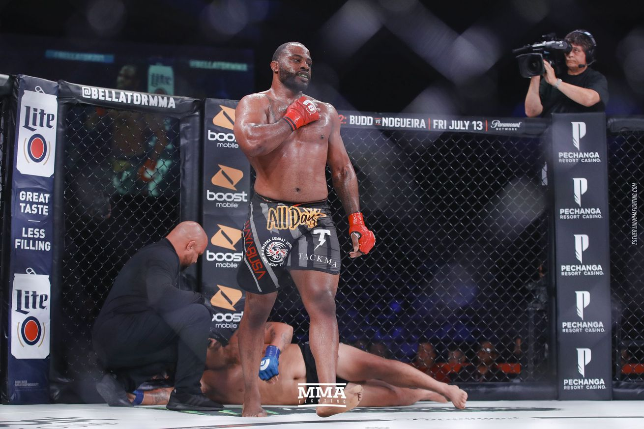 Tyrell Fortune (pictured) fights Ryan Pokryfky in a heavyweight bout at Bellator 216 in Uncasville, Conn., on Saturday