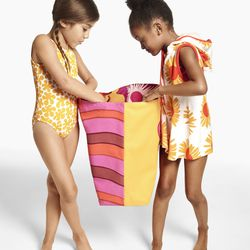 Girls' One Piece Swimsuit, $24.99; Oversized Beach Tote, $19.99; Toddler Girls' Terry Cloth Cover Up, $16.99