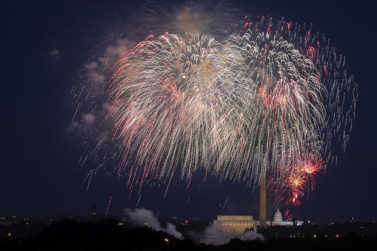 In this Saturday, July 4, 2020, file photo, Fourth of July fireworks explode over the Lincoln Memorial, the Washington Monument and the U.S. Capitol along the National Mall in Washington.