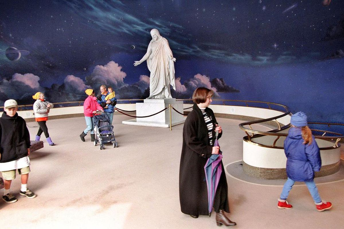 Visitors on a tour of the North Visitors Center at Temple Square in Salt Lake City, Utah.