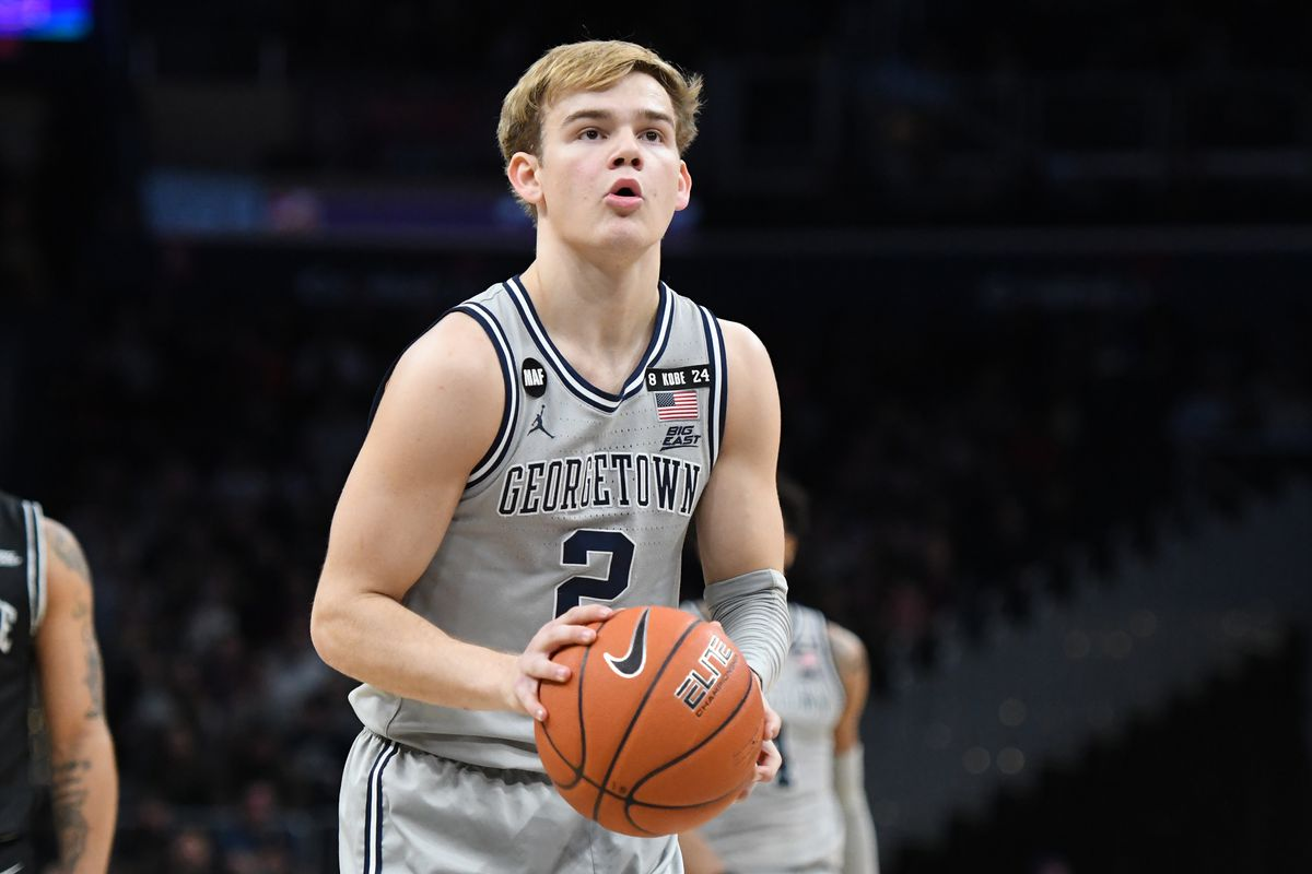 Mac McClung of the Georgetown Hoyas takes a foul shot during a college basketball game against the Georgetown Hoyas at the Capital One Arena on February 19, 2020 in Washington, DC.