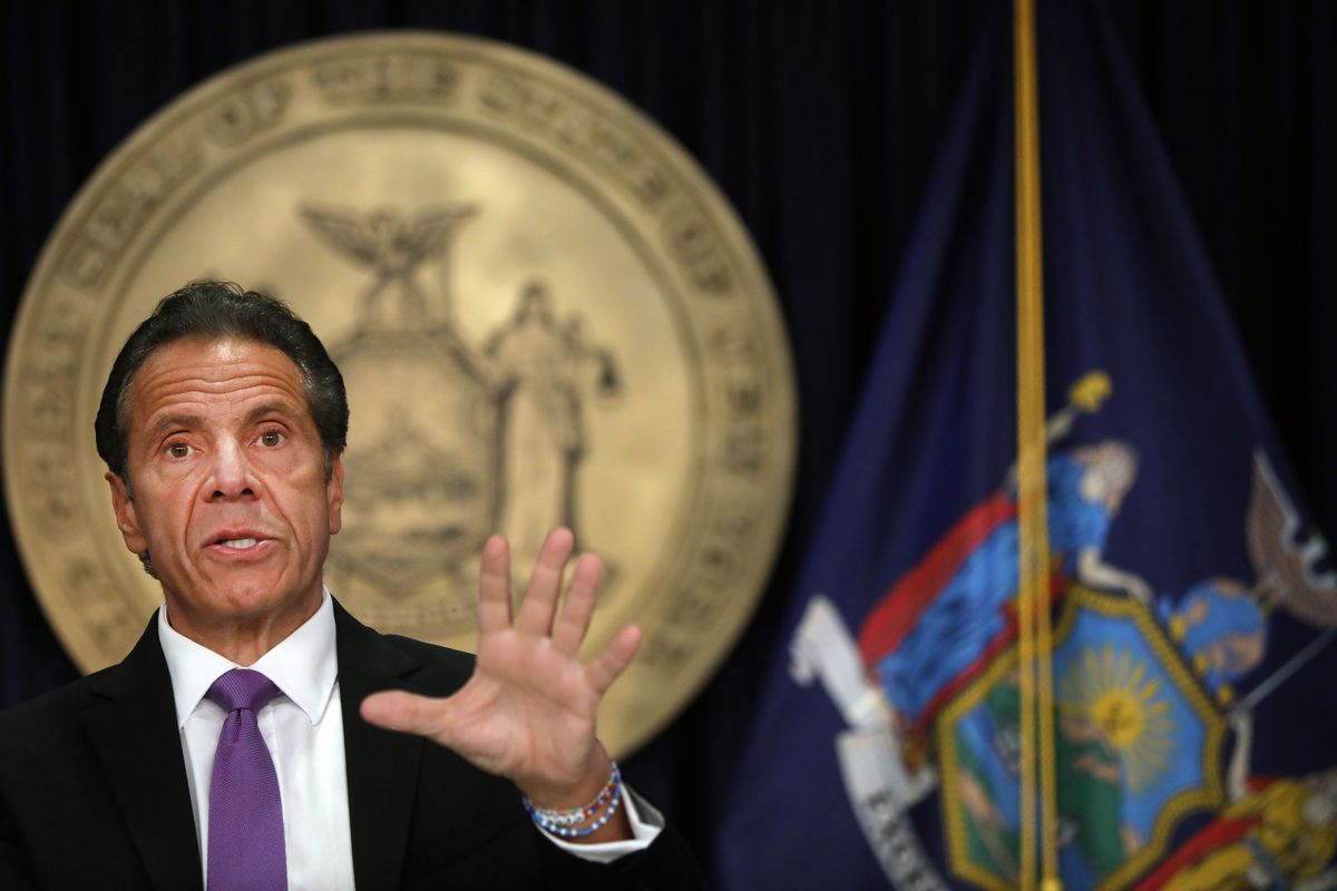 New York Governor Cuomo Holds A Press Briefing In NYC