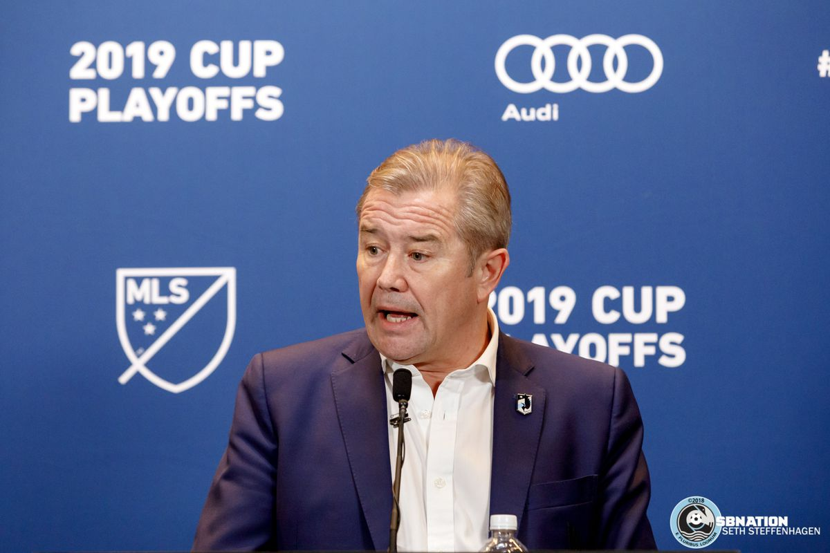 October 20, 2019 - Saint Paul, Minnesota, United States - Minnesota United head coach Adrian Heath answers questions from the media after loosing to the LA Galaxy 2-1 in first round playoff match at Allianz Field.