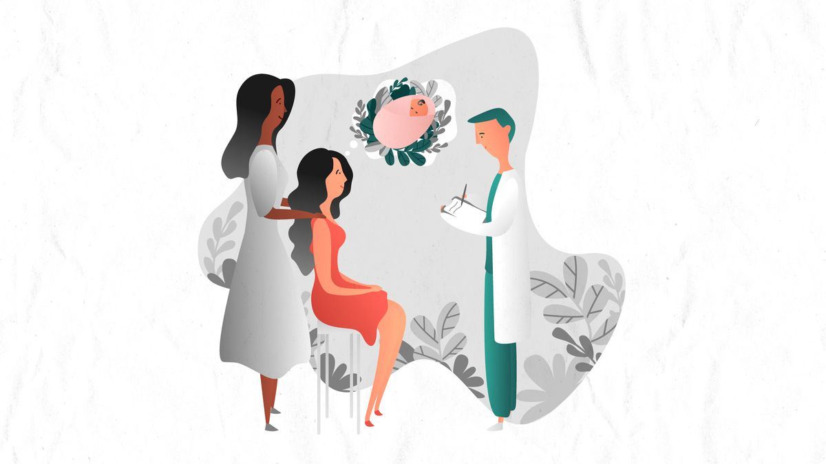 Illustration of two people talking to a doctor.