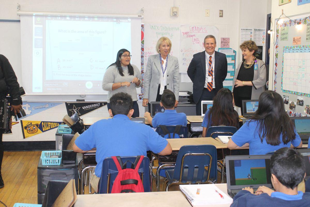 U.S. Secretary of Education Betsy DeVos and Tennessee Gov. Bill Lee visit the sixth-grade math classroom of Alyssa Patel at LEAD Cameron Middle, a Nashville charter school.