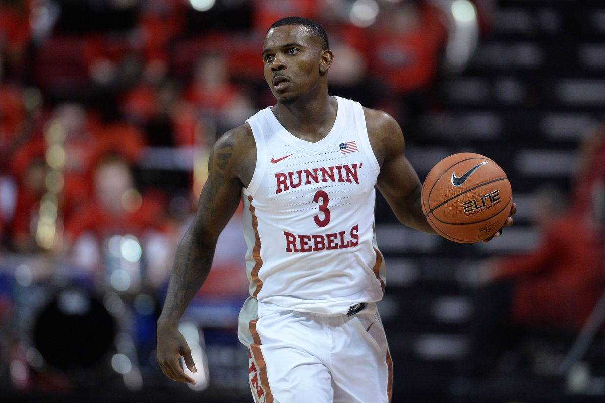UNLV Rebels guard Amauri Hardy dribbles during the first half of a Mountain West Conference tournament game against the Boise State Broncos at Thomas and Mack Center.