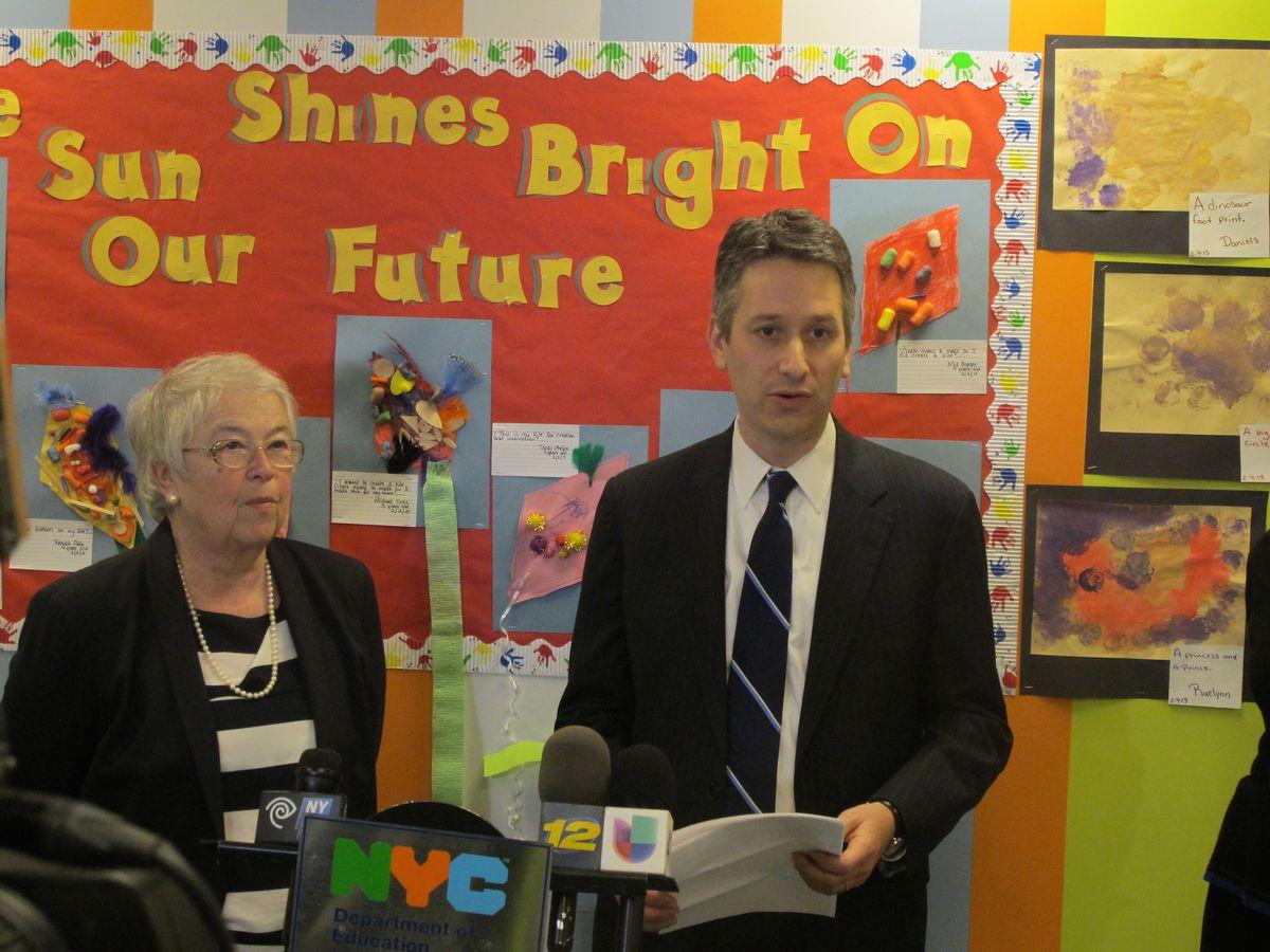 Josh Wallack with schools Chancellor Carmen Fariña