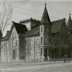 The Provo Tabernacle in about 1910 after the center tower was partially removed because of structural problems.