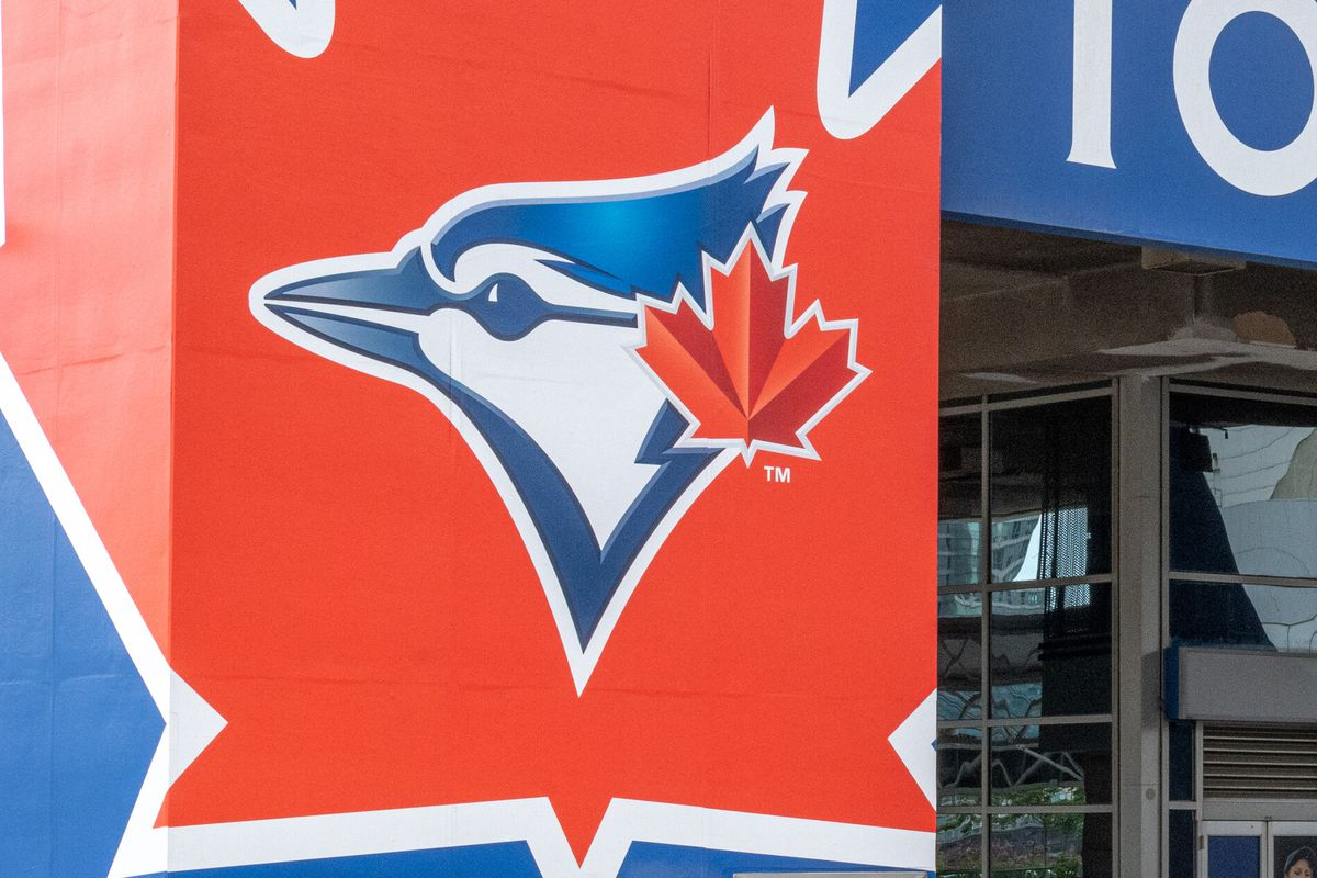 Toronto Blue Jays logo at the entrance of the Rogers Centre...