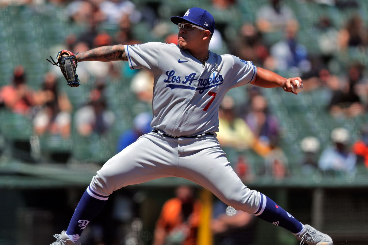 Julio Urias (7) pitches for the Dodgers as the San Francisco Giants played the Los Angeles Dodgers at Oracle Park in San Francisco, California, on Sunday, May 23, 2021.