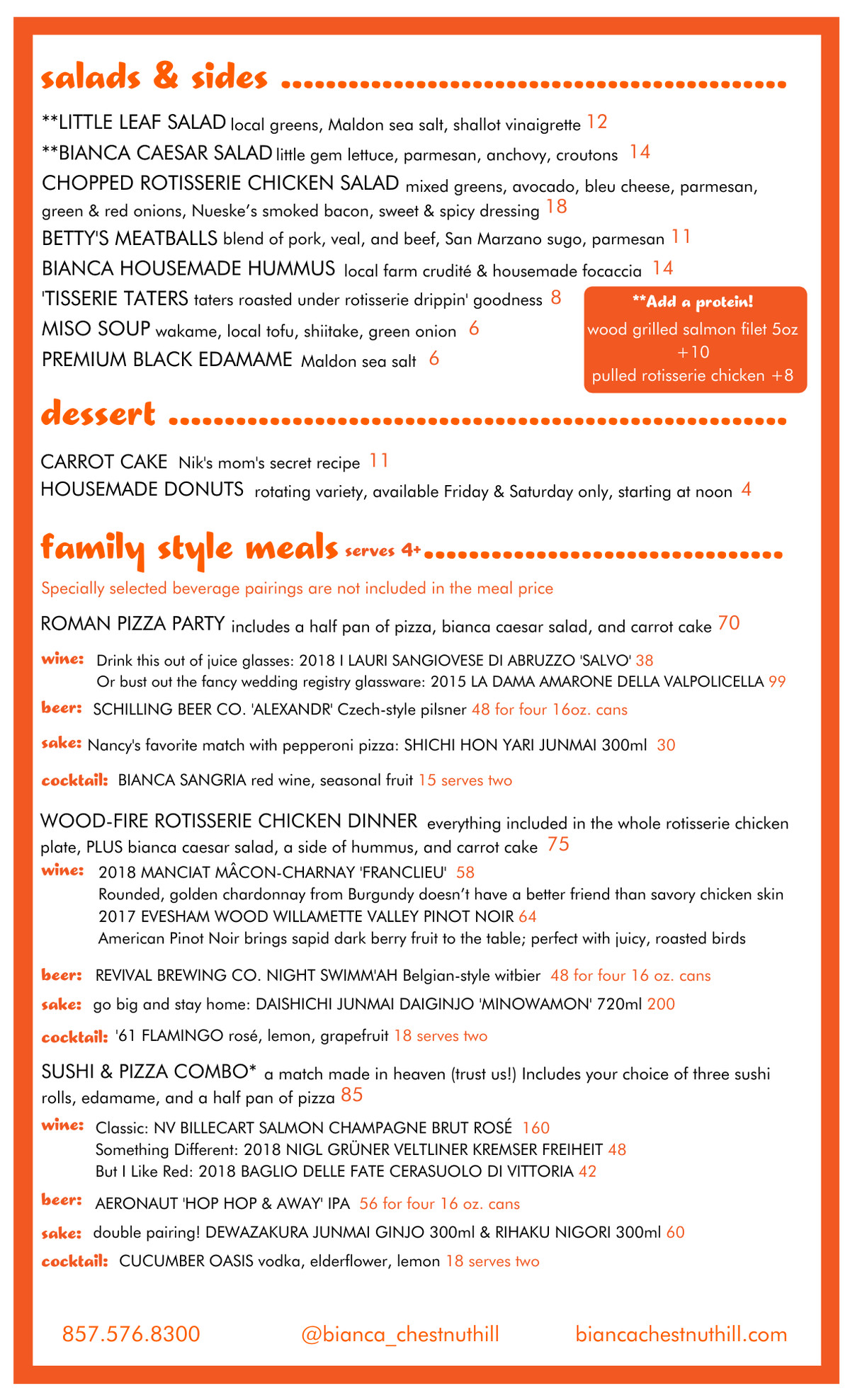 Second page of a pizzeria menu, featuring salads, sides, and more