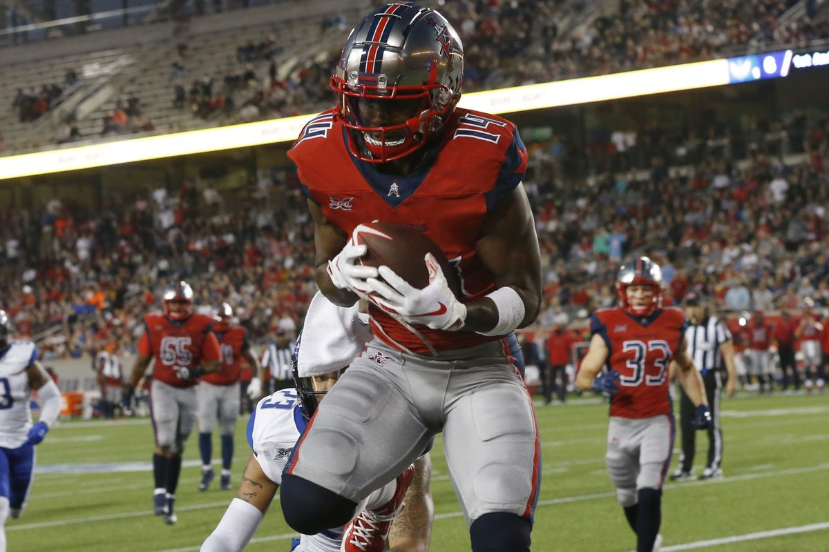 Cam Phillips of the Houston Roughnecks catches a pass for a touchdown in the second quarter against the St. Louis Battlehawks at TDECU Stadium on February 16, 2020 in Houston, Texas.