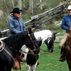 Rancher Kenny Black talks with Interior Secretary Ryan Zinke and San Juan County Commissioner Bruce Adams while on a horseback ride in the Bears Ears with local and state representatives on Tuesday, May 9, 2017.