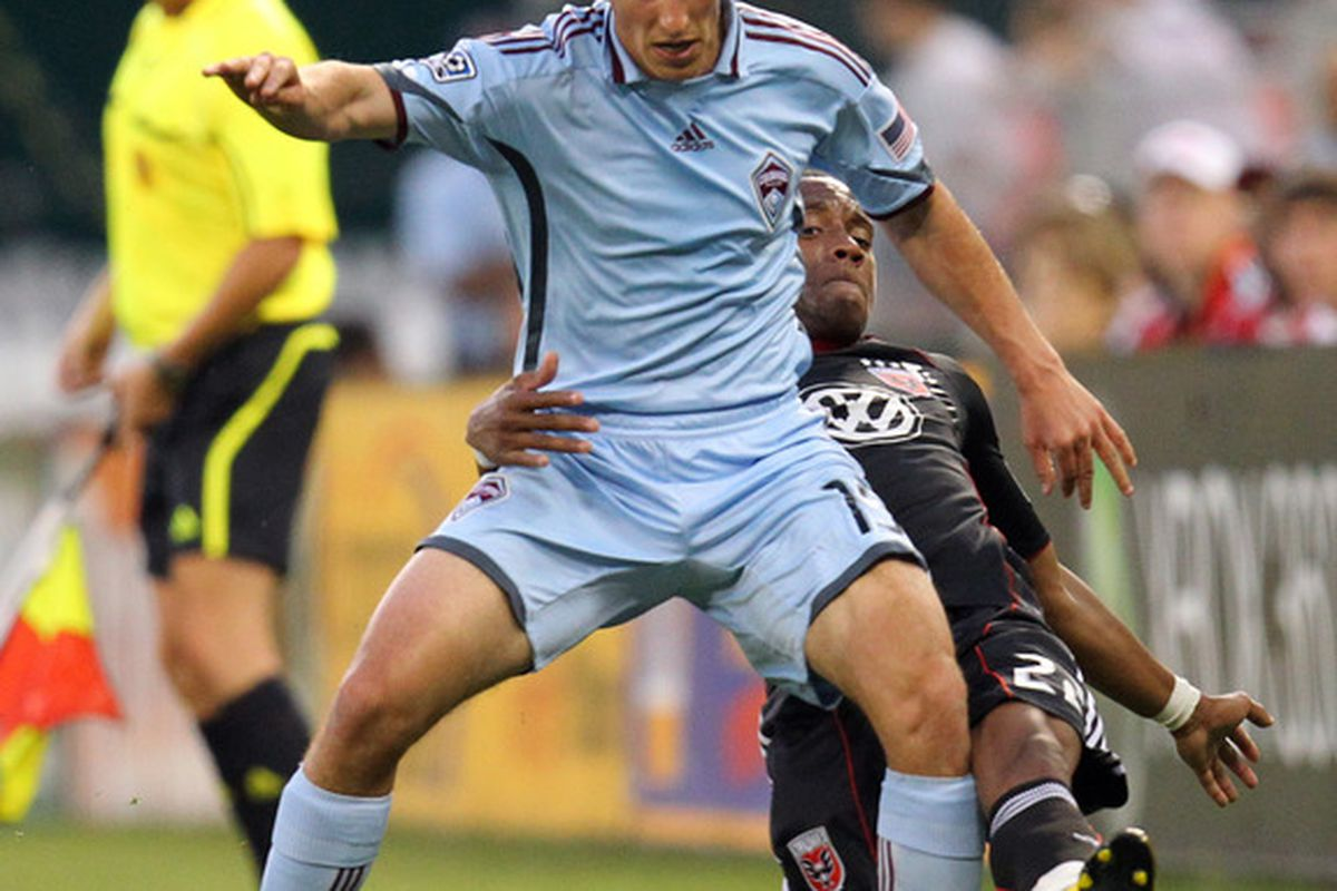 WASHINGTON - MAY 5: Wells Thompson #15 of the Colorado Rapids controls the ball against Rodney Wallace #22 of D.C. United at RFK Stadium on May 5, 2010 in Washington, DC. (Photo by Ned Dishman/Getty Images)