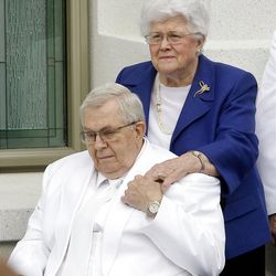Elder Boyd K. Packer and his wife Donna during the cornerstone ceremony. About 200 took part in the ceremony at the Brigham City Temple prior to the dedication Sunday, Sept. 23, 2012.