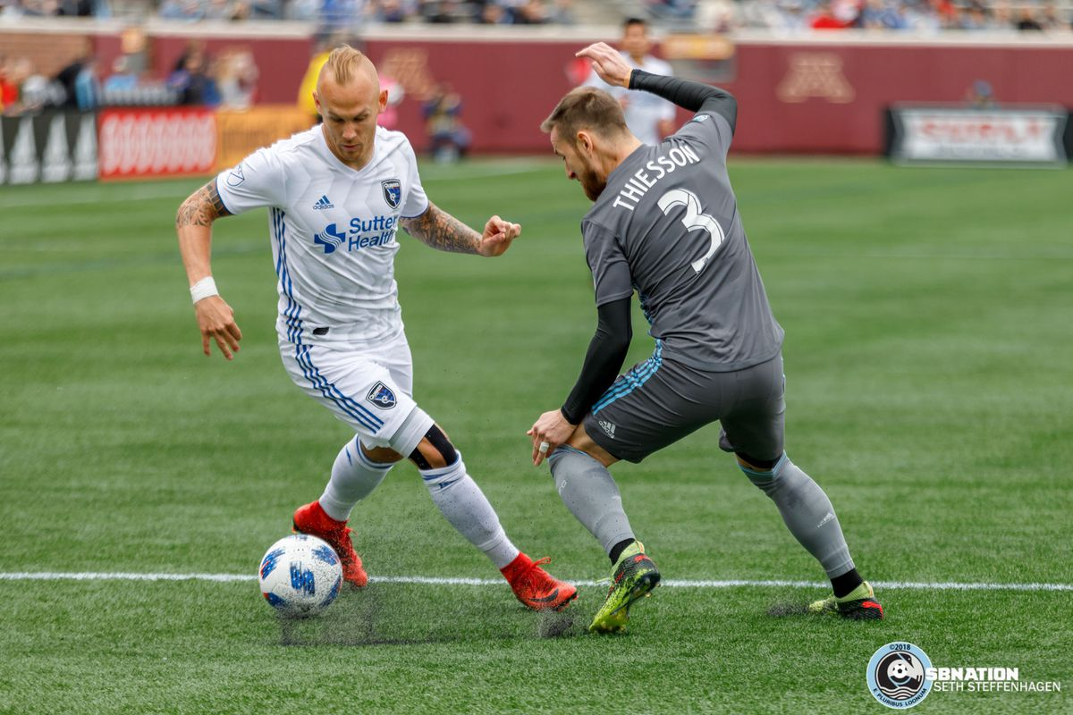 May 12, 2018 - Minneapolis, Minnesota, United States - San Jose midfielder Magnus Eriksson (7) is cut off by Minnesota United defender Jerome Thiesson (3) during the match at TCF Bank Stadium.