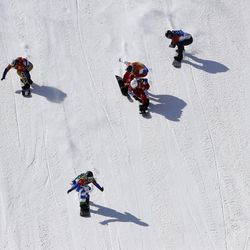 From left; Bronze medal winner Eva Samkova, of the Czech Republic, gold medal winner Michela Moioli, of Italy, Chloe Trespeuch, of France, silver medal winner De Sousa Mabileau Julia Pereira, of France, and Lindsey Jacobellis, of the United States, cross the finish during the women's snowboard finals at Phoenix Snow Park at the 2018 Winter Olympics in Pyeongchang, South Korea, Friday, Feb. 16, 2018.