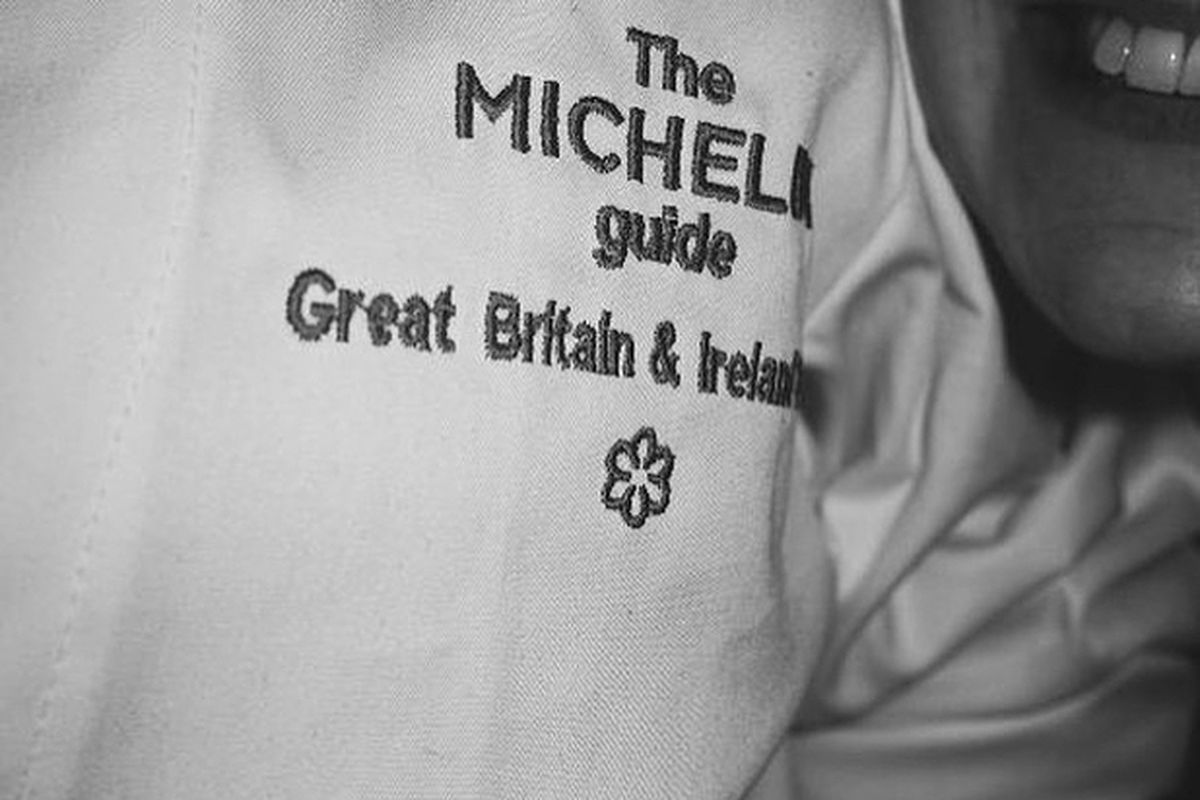 Michelin Guide 2019 jacket at Michelin-starred restaurant Brat by Tomos Parry in Shoreditch, taken on Instagram