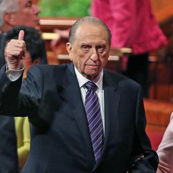 Thomas S. Monson, President of the Church of Jesus Christ of Latter-day Saints, gives a thumbs up at the end of the morning session of the 183rd Semiannual General Conference of the Church of Jesus Christ of Latter-day Saints Sunday, Oct. 6, 2013, in Salt Lake City.