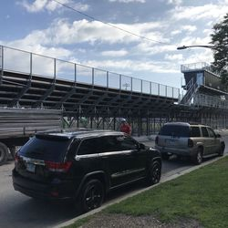 The view of the home team bleachers at Mount Carmel High School's Barda-Dowling Stadium at Carey Field from 65th Street.