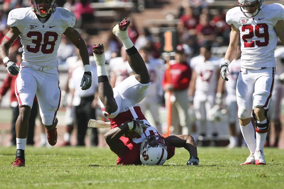April 14, 2011; San Francisco CA, USA; The pass for Stanford Cardinal wide receiver Ty Montgomery (88) is called incomplete during the cardinal and white spring game at Kezar Stadium Mandatory Credit: Kelley L Cox-US PRESSWIRE