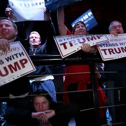 The crowd cheers as Donald Trump, the front-runner in the GOP presidential race, speaks at the Infinity Event Center in Salt Lake City early Friday evening. in Salt Lake City on Friday, March 18, 2016.