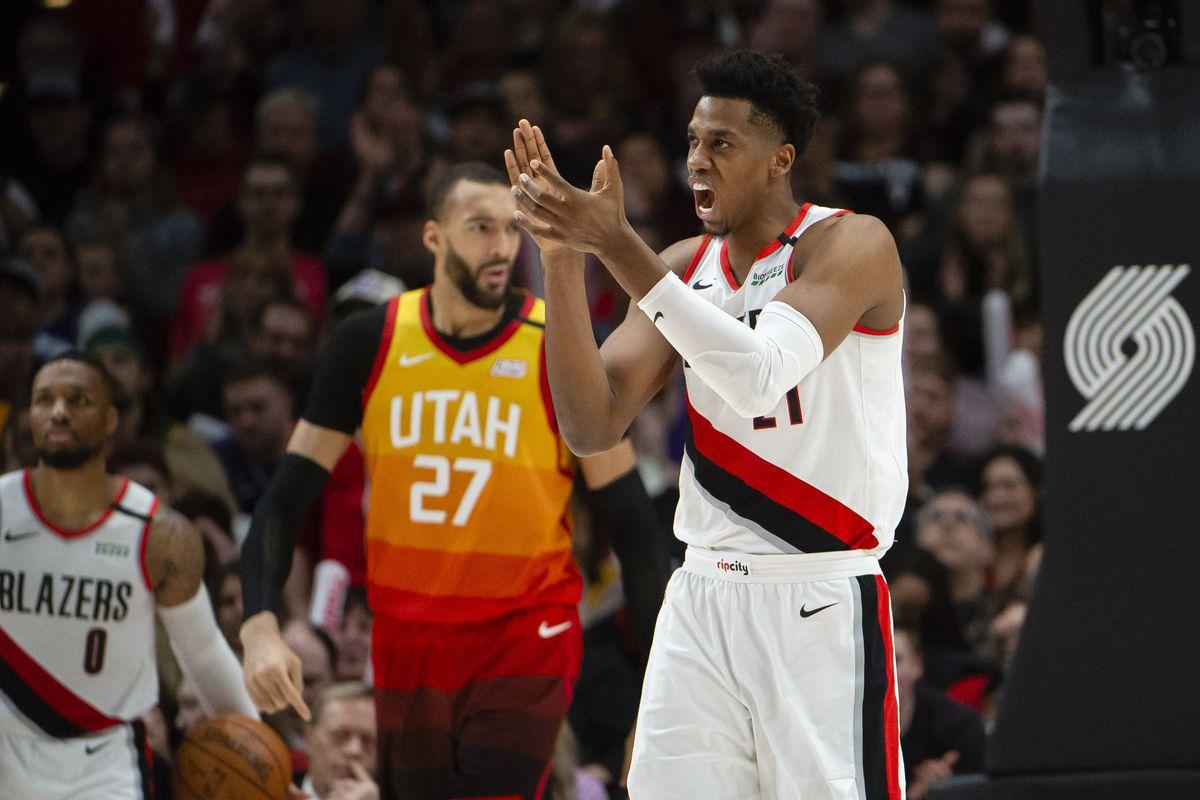 Portland Trail Blazers center Hassan Whiteside celebrates during the second half against the Utah Jazz at Moda Center. The Trail Blazers won 127-107.