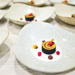 """Daniel Ryan's """"bûche de noël,"""" with cranberries and crème fraîche."""