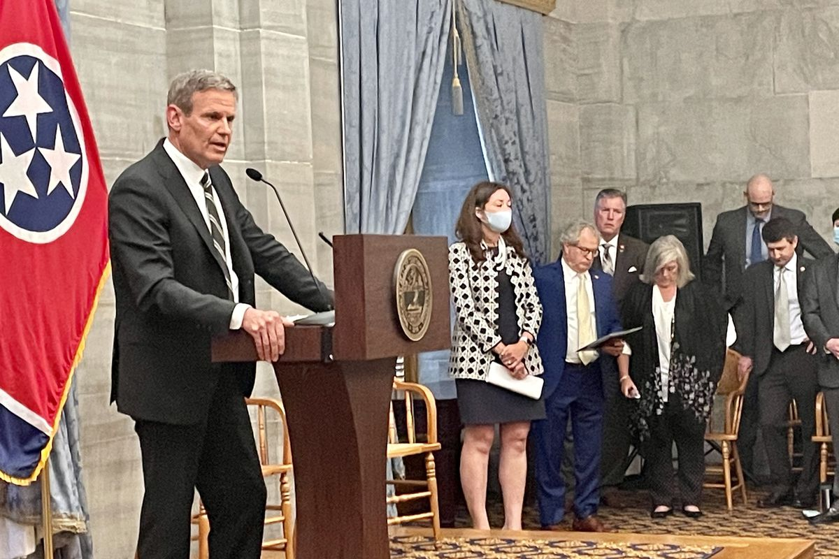 Gov. Bill Lee asks for prayers for shooting victims at Knoxville's Austin-East Magnet High School during a press conference on Monday, April 12, 2021.