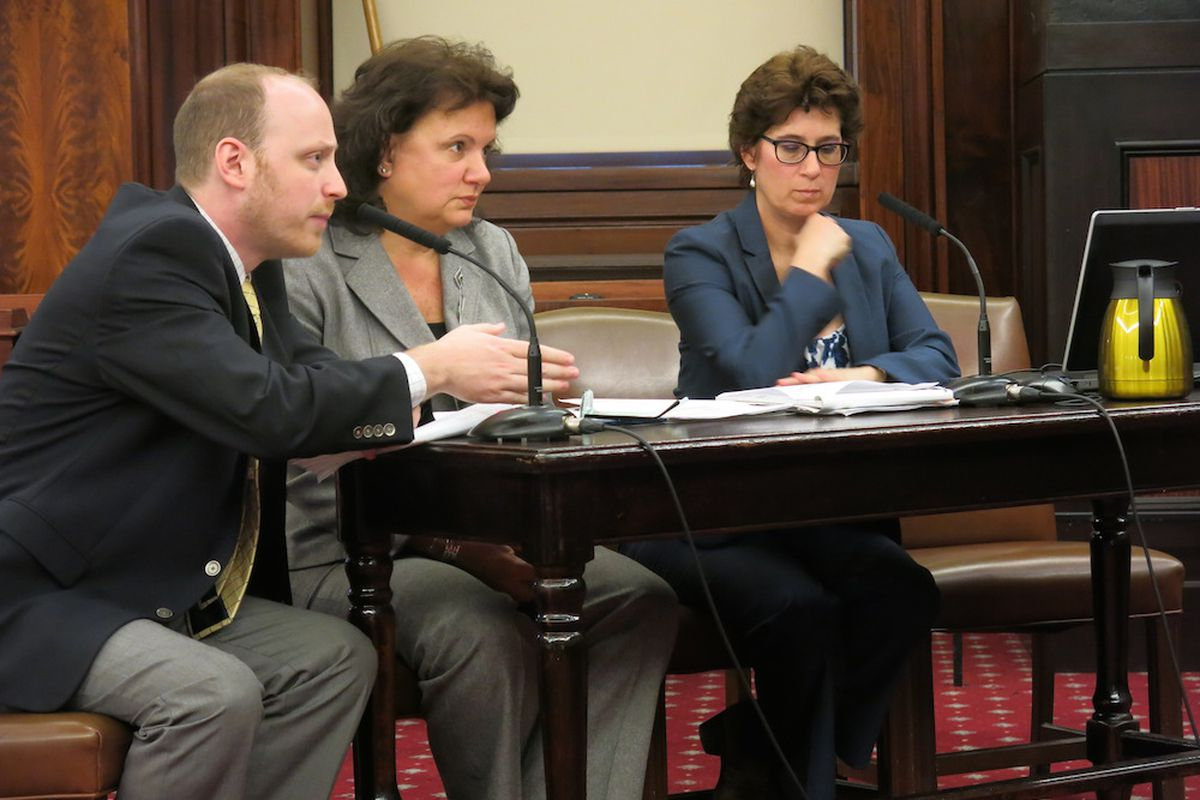 Department of Education officials, including special-education chief Corrine Rello-Anselmi center) testified at a City Council hearing Tuesday.