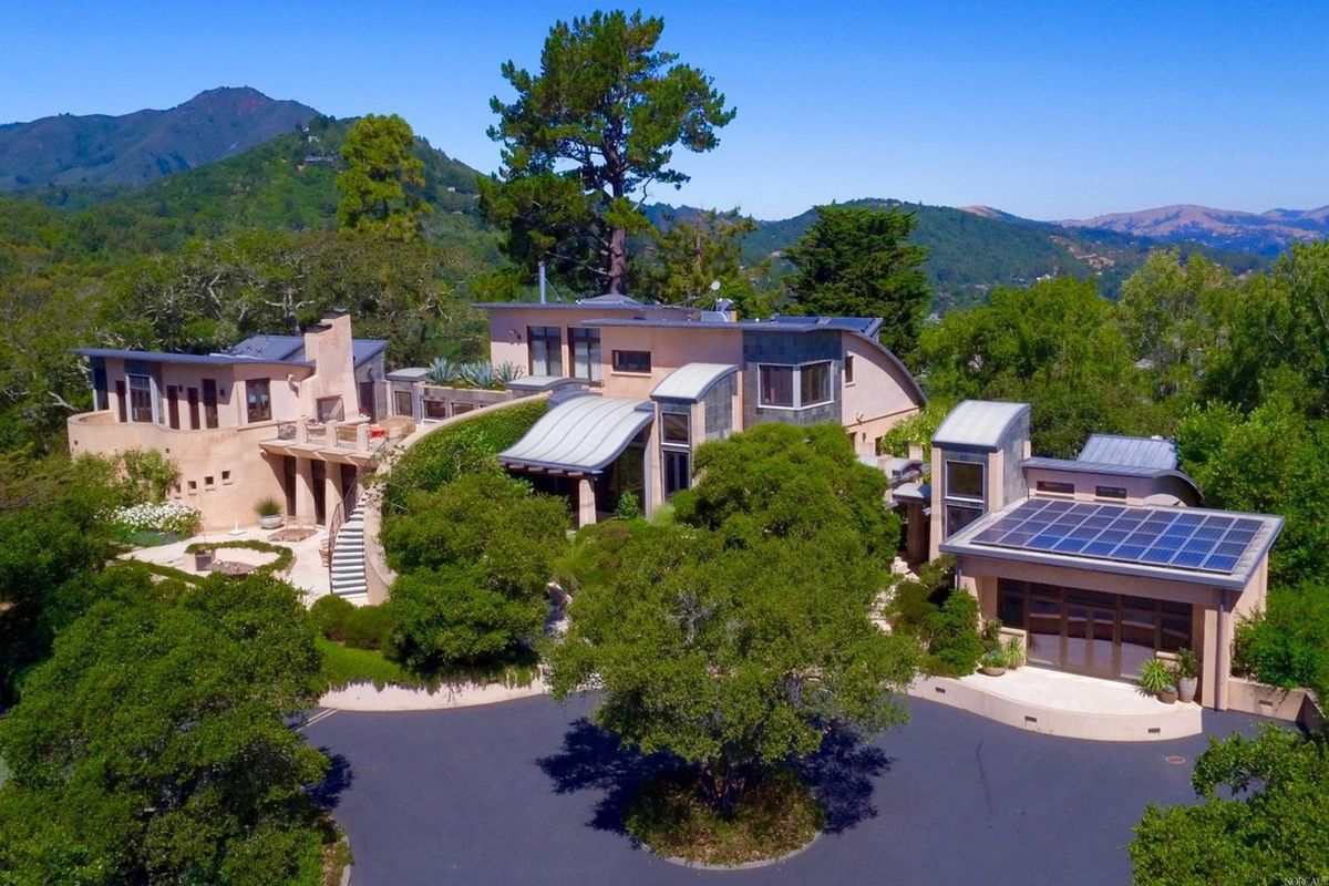 Exterior of resort-like Marin mansion. It's HUGE.