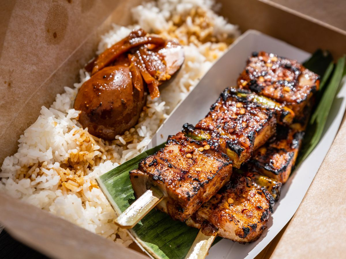 Pork belly skewers with rice from SXSE Food Co.