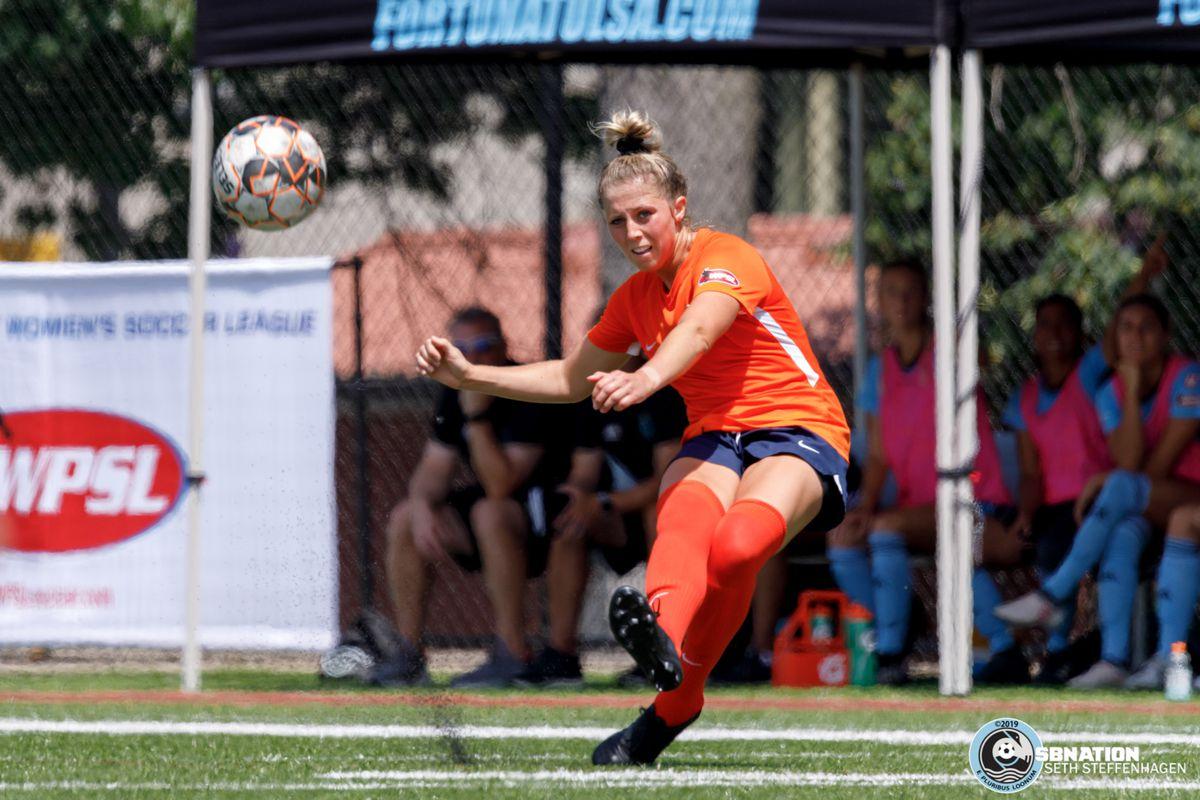 July 13, 2019 - Saint Paul, Minnesota, United States - Salvo SC midfielder Emily Heslin (6) kicks the ball during the Central Region semi-final match between Salvo SC and Fortuna Tulsa at Reynolds Field.