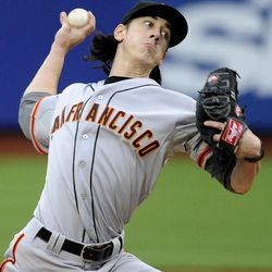 San Francisco Giants starting pitcher Tim Lincecum throws to the New York Mets in the first inning of a baseball game Monday, April 23, 2012, in New York. The Giants won 6-1.