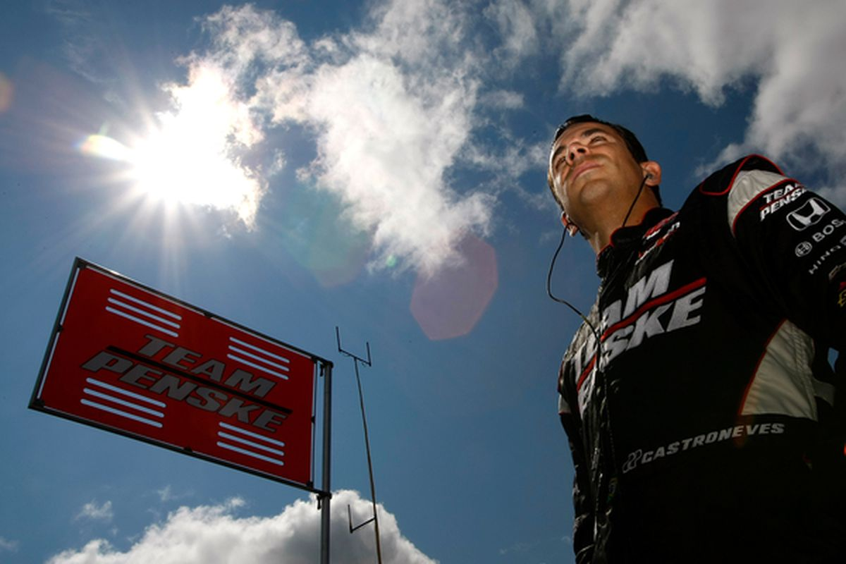 Helio Castroneves, seen here pondering the great wisdom of IndyCar race control after the Honda Indy Edmonton. (Photo by Jonathan Ferrey/Getty Images)