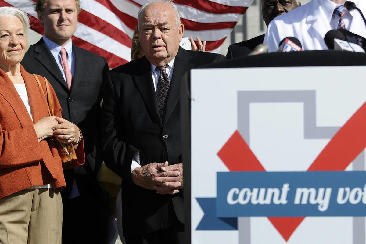 Former First Lady Norma Matheson, left, and former Governor Norm Bangerter listen during the press conference for Count My Vote on the steps of the state capitol on Wednesday, Sept. 18, 2013. Count My Vote is determined to increase voter participation and