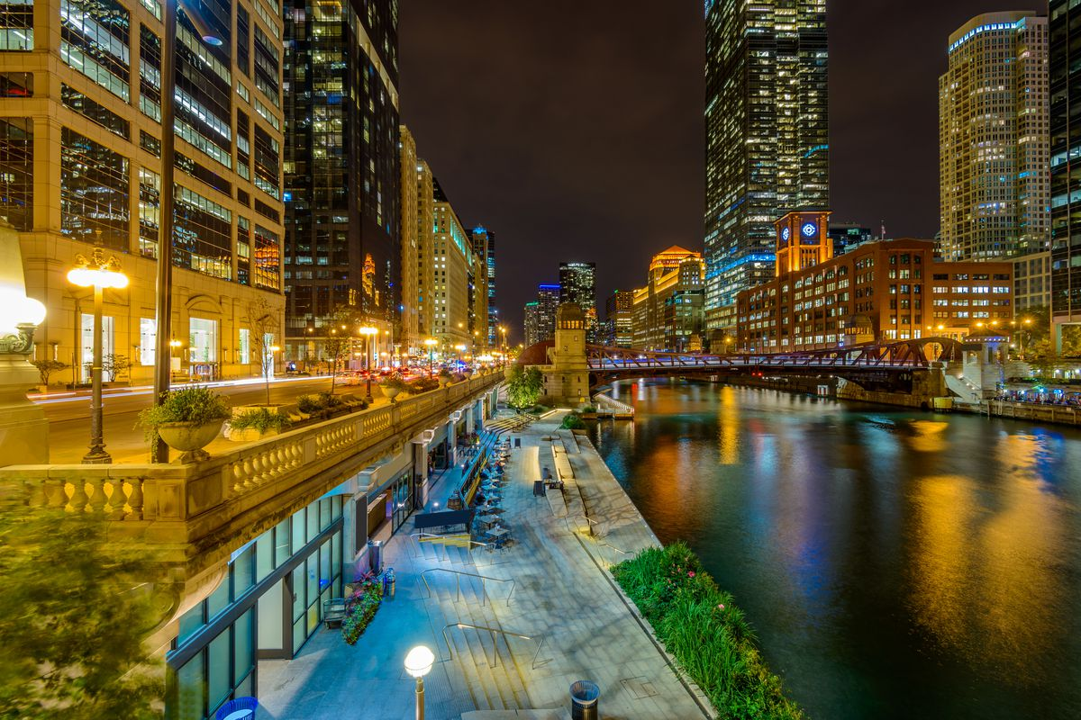 A view along the Chicago River at night