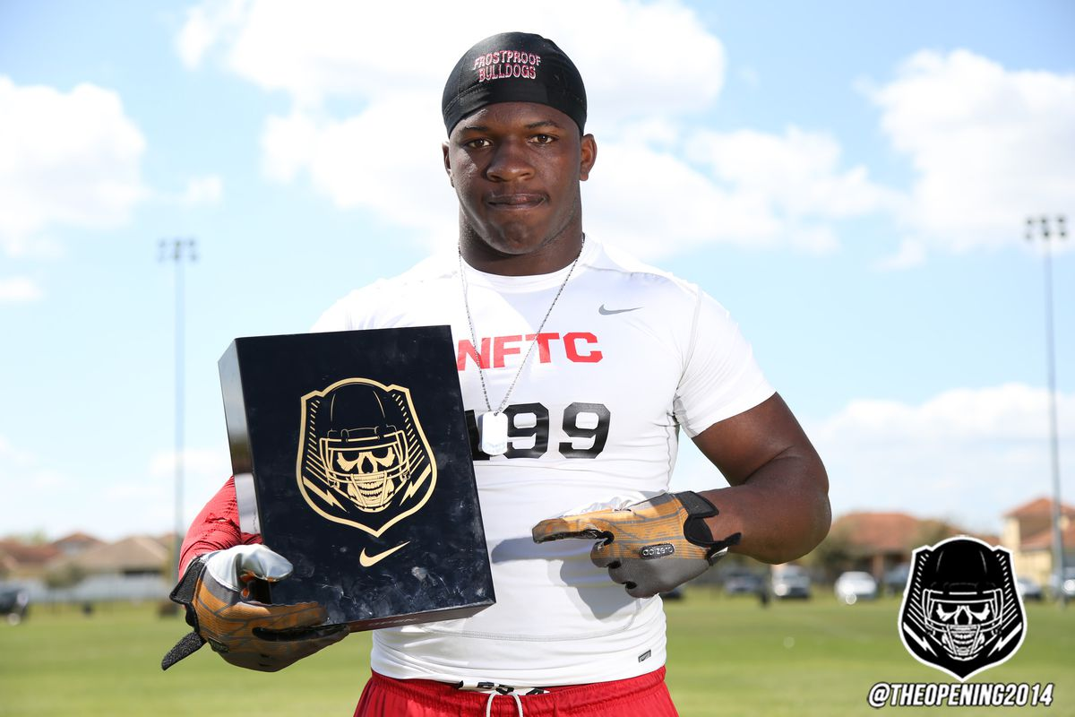 Linebacker Cecil Cherry with his invite to The Opening