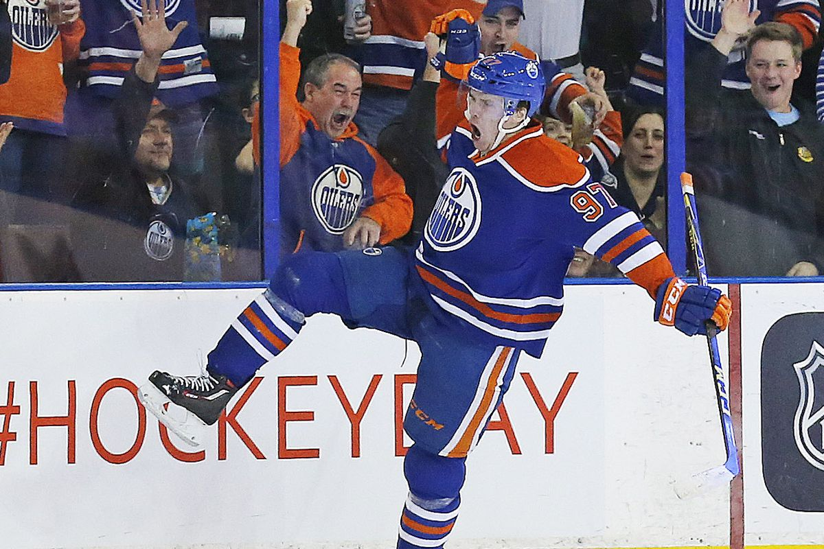 Connor McDavid celebrates his return to NHL action