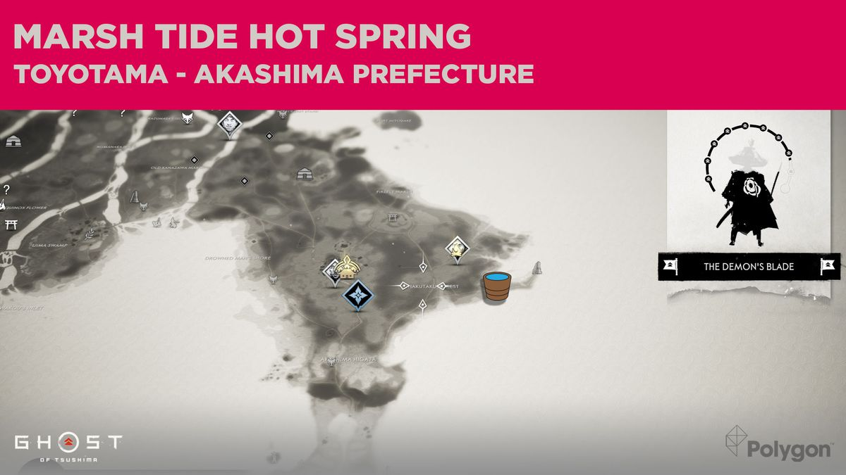 The location of the hot spring in Akashima in Ghost of Tsushima